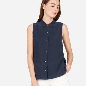 Everlane Clean Silk Sleeveless Button Up in Black